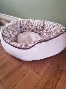 pink pet bed with leopard print interior